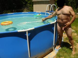 here I am playing by myself outside.Would any women like to play in the pool with a horny old man?
