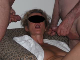 Our swinger friend and my hubby prepare to give me a hot cum facial