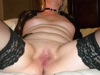 Beth after getting fucked and filled with cum AND taking a load to the face. You like her choker ...it\'s also covered in cum. Would you like to be next?