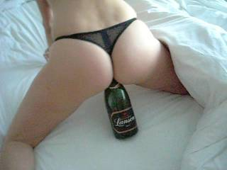I'd be more than glad to bring a nice Moet Chandon or a Veuve e Cliquot champagne any time so we can open it and let her infuse it inside with her creamy vagina natural juices and flavors, and celebrate in bed all of us as we fuck and cum inside her non-stop. Cheers.