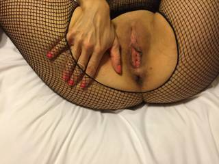 omg I just fuckin g LOVE these crotchless bodystockings!  Doncha just love how you look in them....made  for no other reason than to get fucked in them, or at the least show off in them..  I t frames your cunt perfectly!