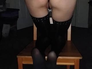 Sat up to attention waiting for cock