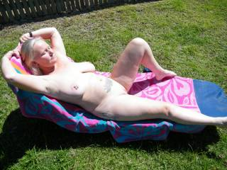 sunning in the back yard