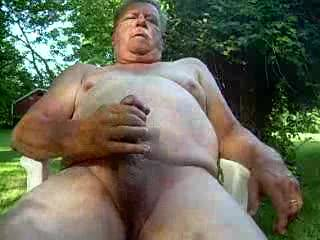 Nice day for jerking off a load of cum outside!