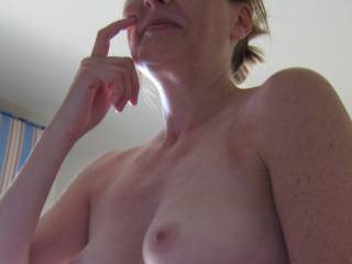 I like perky!  I'd like to kiss, suck and nibble on them until those nipples get long and hard.....then I'd roll them between my fingers....and gently tug on them with my teeth....