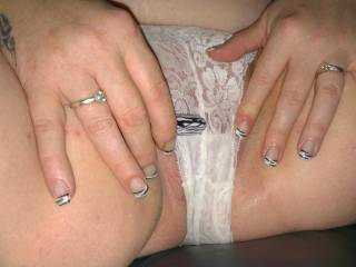 Yeah, slip those pretty lace panties aside and let me slip the head of my swollen cock between those wet pussy lips. Heaven!