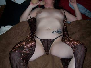 Could enjoy getting between those sweet thighs to pull aside the panties and enjoy that HOT pocket!!