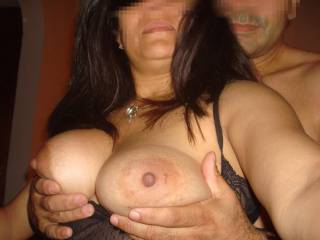 offering my wife's tits