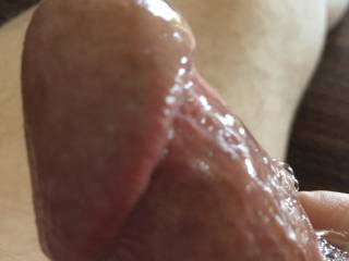 Closeup of my cock head, glistening and ready to slide into your pussy. Are you ready?