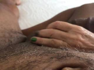 Wife stroking my dick