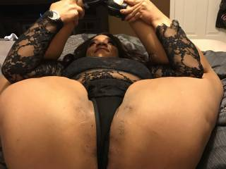 Sexy Latina Debi put her legs behind her back for black dick.