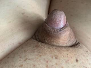 Just sitting here naked on a lazy Friday afternoon and my cute little cock is taking a rest. Doesn\'t he look so small and cute?