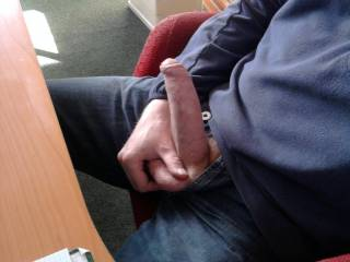 Just sit there with your cock out, and let a perverted naked str8 guy slip in, and give you a nice handjob. Cool huh?