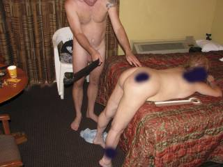 Did a no-hole-barred threesome with one of the sub sluts of an old friends. His huge cock stretched her pussy, ass, and mouth to the limit! It was so nice of him to share her! I even got to spank her! It hurt to sit for a week after we were done with her!