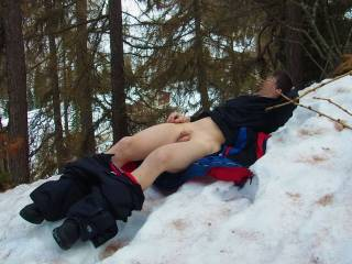 i love being naked in the snow. theres not much here in the desert tho