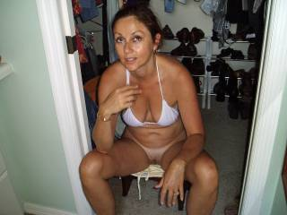 Candi Annie waits for Al to finish his shower - she greets him with and open mouth every time!
