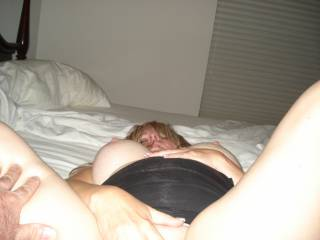 Being used by a hard stud, he loved to lick and suck on my shaved hot pussy.