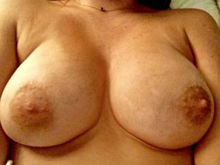 Wow, absolutely magnificent tits...perfect size, shape, big aerolas (my favorite!) and deliciously hard nipples just begging to be licked, sucked and nibbled on!!