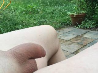 I love being naked in the nature.  Just sitting here in my garden and relaxing.  I need someone to do the work here. Who wants to help?