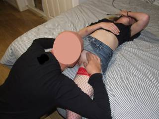 Joanne enjoying getting her pussy licked by our friend