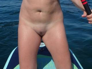 The wife showing off at the nudist beach