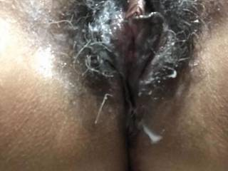 He came three times in my hairy pussy. Love it