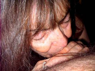 I love how nice my hair looks in this pic of me deep throating the guy's cock. Do you think I look pretty?