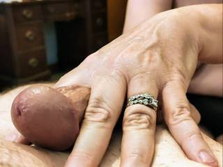 Mmm... This married woman loves cock between her fingers. Let me massage your cock until you cum all over me. Mmm... This cum lover is so ready for your throbbing cock.