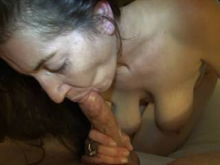 After fucking Mia, she sucks her cum from my cock. Then she licks my balls, then my ass and makes me cum.