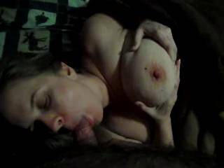 playing with my wifes huge floppy tits while getting some head