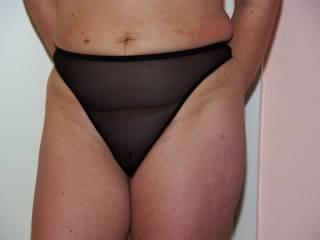 wearing a sheer panty