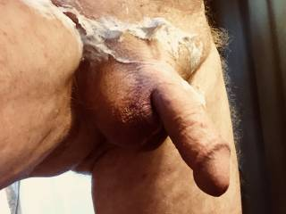 Shaved my cock and balls to silky smoothness.