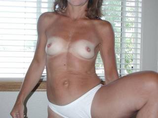 Girl, you look great in white panties. I love the pussy peek, wish I could taste. Thanks for being my friend.