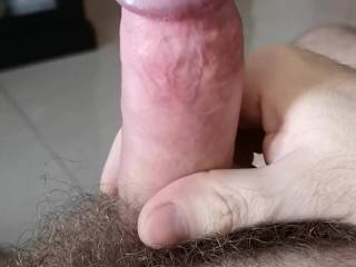 Me moaning while watching hubby jerk his cock, ooze precum and shoot his hot load...
