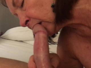 My wife and I met a single guy in a motel.  He likes older women and I love watching them suck and fuck. She loves his cock.