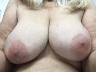 my 72 year old wife sexting me her sweet tits while away working