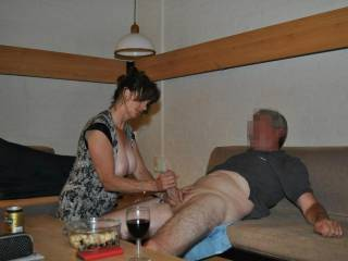 pleasing my mature husband with a nice handjob.