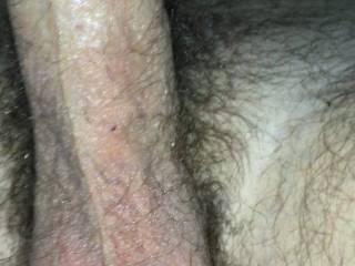 Watching his hairy fat cock Fuck his flashlight