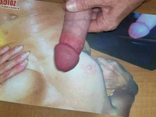Getting my cock nice and hard stroking to nor100\'s hot tits tribute pic she made for my cumload! Smacking her perfect boobs! More to cum!