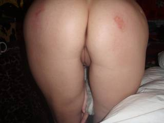 beautiful ass. Just fucked and toyed. Puffy pussy and 2 hickies on each cheek :)