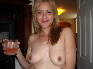 She would put me in the mood. Damn nice titties & a pretty face. You are a lucky man!!