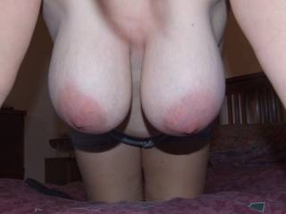 I want to fuck your back door while reaching round and grabbing those huge swing tits then turn you around and unload on them beautiful puppies.  GARY xxx