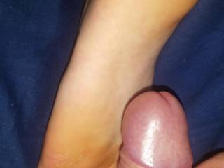 my cock on her left foot