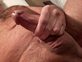 Stroking my cut cock