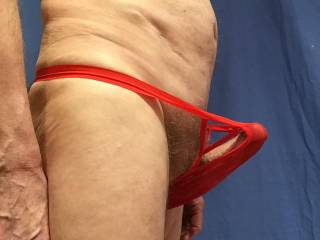 The new undies give way to my erection.