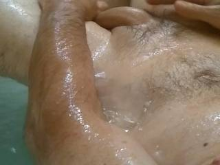 Warm bath and raging hormones. Playing w my dick for you!