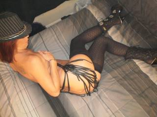 With the cute ass, sexy stockings and boots....your getting me in the mood to whip your ass while I work it......