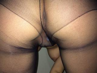 Oh yes...I'd just love to rub my cock against that sexy nylon ass.