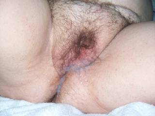 Her cum filled pussy, after a good fucking
