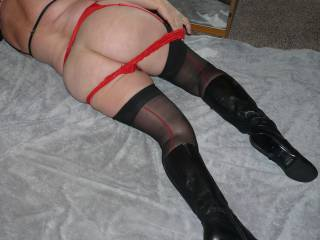 Just showing the red and black lingerie I went out to the pub in the other day.